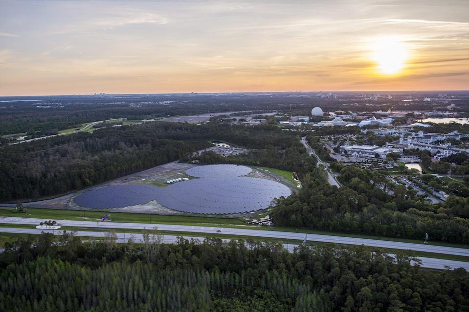 "<p>For Earth Day 2021, Disney World announced they are building two new <a href=""https://disneyparks.disney.go.com/blog/2021/04/harnessing-the-sun-to-power-disney-parks-around-the-world/"" class=""link rapid-noclick-resp"" rel=""nofollow noopener"" target=""_blank"" data-ylk=""slk:75-megawatt solar facilities"">75-megawatt solar facilities</a>, which should be ready to power up in a couple years.</p> <p>Along with Disney World's existing 270-acre, 50-megawatt solar facility and a smaller, not-so-hidden Mickey solar array, Disney will soon be able to generate enough energy to power 40 percent of its Florida resort.</p>"
