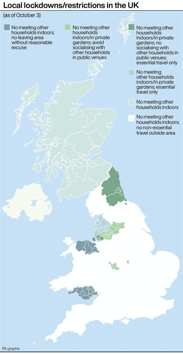 Local lockdowns/restrictions in the UK