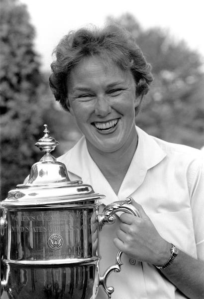 FILE - In this July 1, 1961 file photo, Mickey Wright poses after winning her third Women's National Open golf championship, at the Baltusrol Golf Club at Springfield, N.J. Hall of Fame golfer Wright, who won 82 LPGA tournaments including 13 majors, died Monday, Feb. 17, 2020, of a heart attack, her attorney said. Wright was 85. (AP Photo/File)