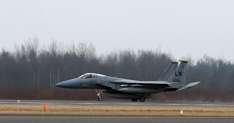 """The US F-15 jet fighters were sent to the Baltic region two weeks before the start of massive military exercises in Russia and Belarus, which Moscow and Minsk say are """"purely defensive"""""""