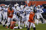 Indianapolis Colts' Julian Blackmon (32) celebrates with teammates after an interception during the second half of an NFL football game against the Chicago Bears, Sunday, Oct. 4, 2020, in Chicago. (AP Photo/Nam Y. Huh)