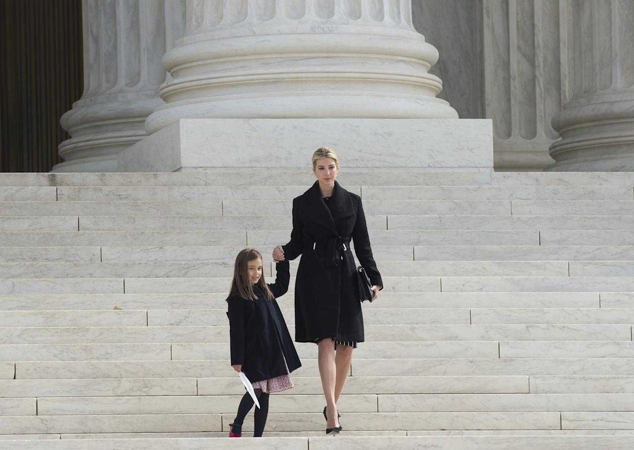 "<p>To take her daughter to hear a Supreme Court case in Washington, D.C. on Feb. 22, Ivanka Trump wore a piece of her own design, the Asymmetrical Walker Coat with a detachable brooch. The wool jacket originally retailed for $325 — but is currently on sale for $159. Trump attended the court session at the encouragement of Justice Anthony Kennedy, who extended her an invitation when they met at the inauguration lunch. ""Arabella and I visited the Supreme Court this morning and attended a hearing,"" the first daughter shared on Instagram. ""I'm grateful for the opportunity to teach her about the judicial system in our country firsthand. #SCOTUS#SupremeCourt #ImportantLessons#MotherDaughter"" (Photo: AP) </p>"