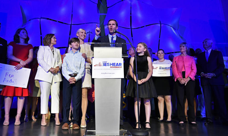 Kentucky Attorney General Andy Beshear speaks to his supporters following his victory in the democratic primary for Governor in Louisville, Ky., Tuesday, May 21, 2019. (AP Photo/Timothy D. Easley)
