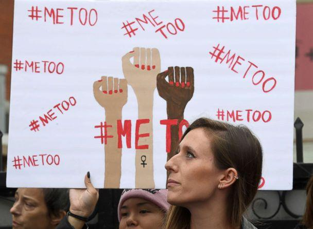 PHOTO: Victims of sexual harassment, sexual assault, sexual abuse and their supporters protest during a #MeToo march in Hollywood, Calif., Nov. 12, 2017. (Mark Ralston/AFP/Getty Images)