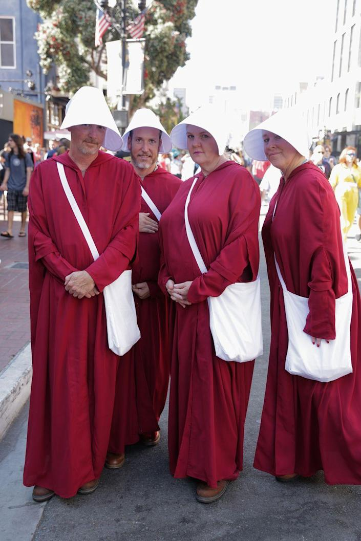 """<p>Gilead may not be the easiest place to live, but these getups inspired by the <em>Handmaid's Tale</em> couldn't be easier to put together. </p><p><a class=""""link rapid-noclick-resp"""" href=""""https://www.amazon.com/Handmaid-Halloween-Cosplay-Costume-Women-L/dp/B07R1XYJM3?tag=syn-yahoo-20&ascsubtag=%5Bartid%7C10070.g.3083%5Bsrc%7Cyahoo-us"""" rel=""""nofollow noopener"""" target=""""_blank"""" data-ylk=""""slk:SHOP RED CLOAKS"""">SHOP RED CLOAKS</a></p>"""
