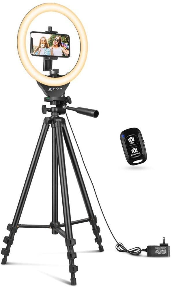 <p>Set up this <span>10'' Ring Light with 50'' Extendable Tripod Stand</span> ($37), and watch your lighting transform for the better.</p>