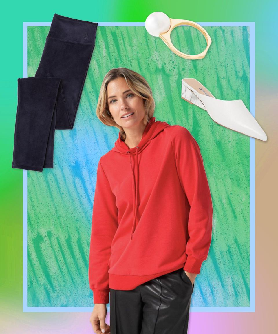 """May we interest you in some plush velour leggings? Start with a luxe-feeling pair in navy, top with a satin-back hoodie (oh la la), and finish with fancy accessories to really emphasize the lady of leisure effect. <br><br><strong>Cuddl Duds</strong> Double Plush Velour Leggings, $, available at <a href=""""https://go.skimresources.com/?id=30283X879131&url=https%3A%2F%2Fwww.qvc.com%2FCuddl-Duds-Double-Plush-Velour-Leggings.product.A293100.html%3Fsc%3DNAVLIST"""" rel=""""nofollow noopener"""" target=""""_blank"""" data-ylk=""""slk:QVC"""" class=""""link rapid-noclick-resp"""">QVC</a><br><br><strong>J Jason Wu</strong> Hoodie With Satin Back, $, available at <a href=""""https://go.skimresources.com/?id=30283X879131&url=https%3A%2F%2Fwww.qvc.com%2FJ-Jason-Wu-Hoodie-w-Satin-Back.product.A389311.html%3Fsc%3DNAVLIST"""" rel=""""nofollow noopener"""" target=""""_blank"""" data-ylk=""""slk:QVC"""" class=""""link rapid-noclick-resp"""">QVC</a><br><br><strong>Charles David</strong> Leather Demi Wedge Mules, $, available at <a href=""""https://go.skimresources.com/?id=30283X879131&url=https%3A%2F%2Fwww.qvc.com%2FCharles-David-Leather-Demi-Wedge-Mules---Proven.product.A446373.html"""" rel=""""nofollow noopener"""" target=""""_blank"""" data-ylk=""""slk:QVC"""" class=""""link rapid-noclick-resp"""">QVC</a><br><br><strong>Honora</strong> Sterling Silver Ming Pearl Ring, $, available at <a href=""""https://go.skimresources.com/?id=30283X879131&url=https%3A%2F%2Fwww.qvc.com%2FHonora-Sterling-Silver-Ming-Pearl-Ring.product.J363129.html"""" rel=""""nofollow noopener"""" target=""""_blank"""" data-ylk=""""slk:QVC"""" class=""""link rapid-noclick-resp"""">QVC</a>"""