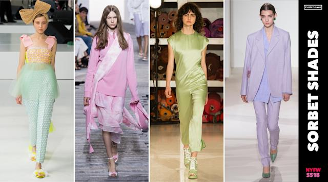 <p><i>Millennial pink is out, and the sweetest pastel shades in blue, green, pink and lavendar are in. Match your look with your favorite sorbet flavor come next spring. (Photo: ImaxTree) </i></p>