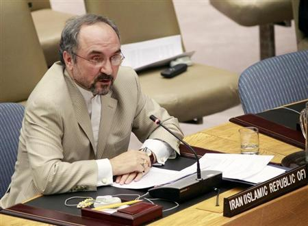 Iran's Ambassador to the U.N. Khazaee speaks before the U.N. Security Council at the U.N. Headquarters in New York