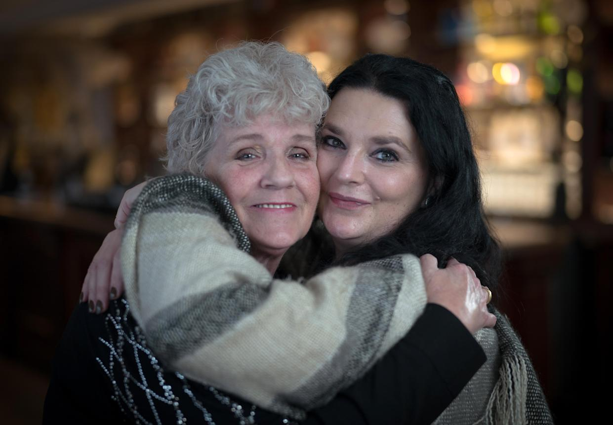 Long Lost Family: Lisa Phillips (right) and her found birth mother Sue (left) on their reunion day. (ITV)