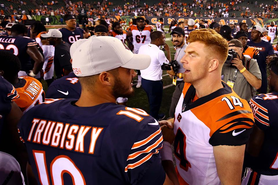 Andy Dalton (14) is apparently replacing Mitchell Trubisky as the Bears' starting quarterback for 2021.