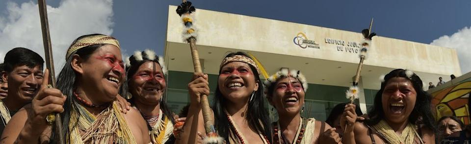 Nemonte Nenquimo (centre), celebrates with other Waorani after a court ruled in their favour in Puro, Ecuador, on April 26, 2019