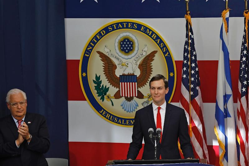 President Donald Trump's son-in-law Jared Kushner, pictured at the controversial opening of the US embassy in Jerusalem, has been a leader of efforts to draft the US Middle East peace plan