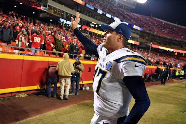 Philip Rivers finally had some fun in Kansas City, a place the Chargers haven't won in since 2013. (Getty Images)