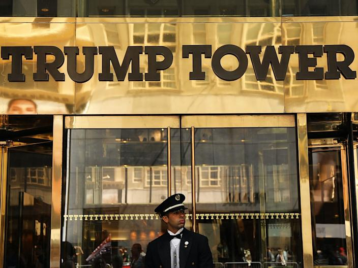 "A guard stands outside of Trump Tower on Fifth Avenue in Manhattan on August 24, 2018. <p class=""copyright""><a href=""https://www.gettyimages.com/detail/news-photo/guard-stands-outside-of-trump-tower-on-fifth-avenue-in-news-photo/1022700260?adppopup=true"" rel=""nofollow noopener"" target=""_blank"" data-ylk=""slk:Spencer Platt/Getty"" class=""link rapid-noclick-resp"">Spencer Platt/Getty</a></p>"