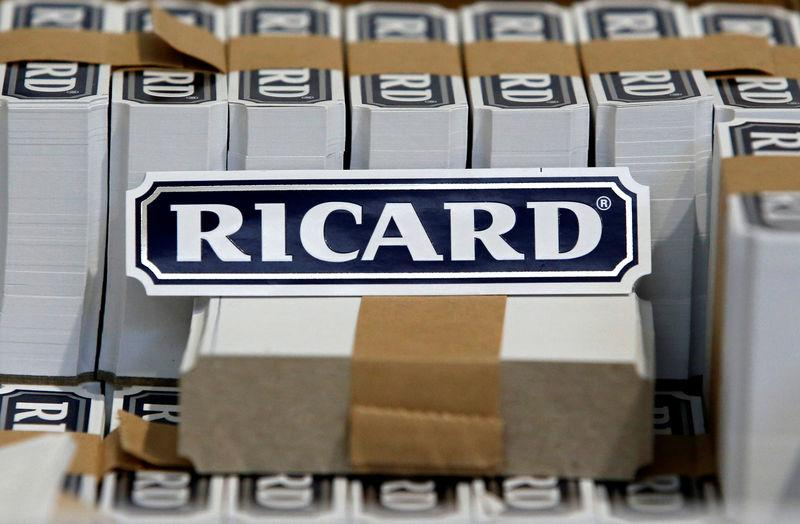 FILE PHOTO: The logo of Ricard is seen on labels at the Ricard manufacturing unit in Lormont, near Bordeaux