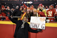 FILE - In this Dec. 13, 2018, file photo, former Kansas City Chiefs player Tony Gonzalez poses with fans in the stands after he was inducted to the Chiefs Hall fo Fame, at halftime of the team's NFL football game against the Los Angeles Chargers in Kansas City, Mo. After 17 seasons in the NFL and several years as a broadcaster, Gonzalez stepped away from the studio this season to pursue acting. (AP Photo/Ed Zurga, File)
