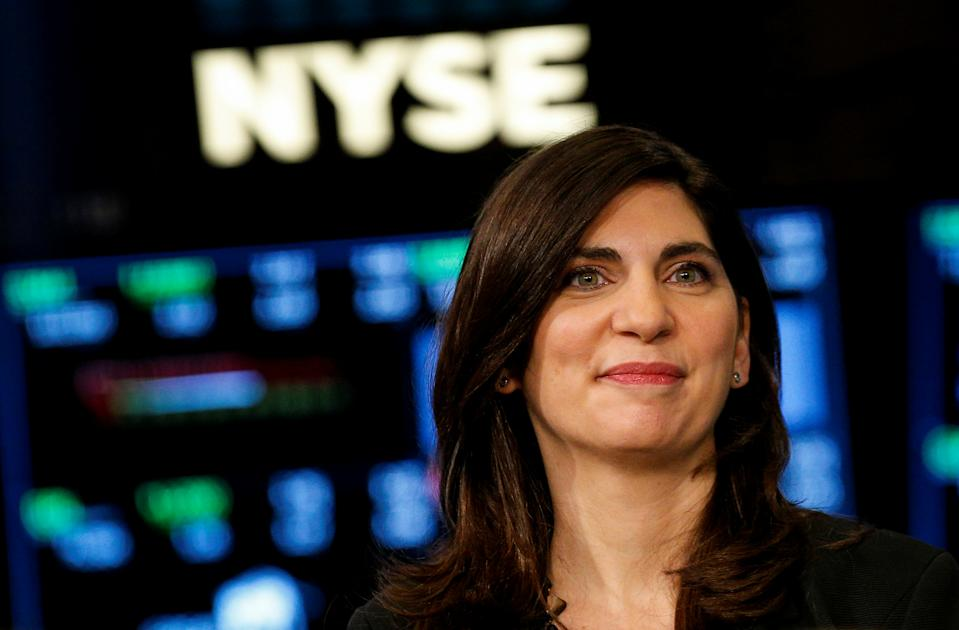 NYSE Chief Operating Officer Stacey Cunningham, who will be the New York Stock Exchange's (NYSE) first female president, speaks during an interview with CNBC on the floor of the NYSE in New York, U.S., May 22, 2018. REUTERS/Brendan McDermid