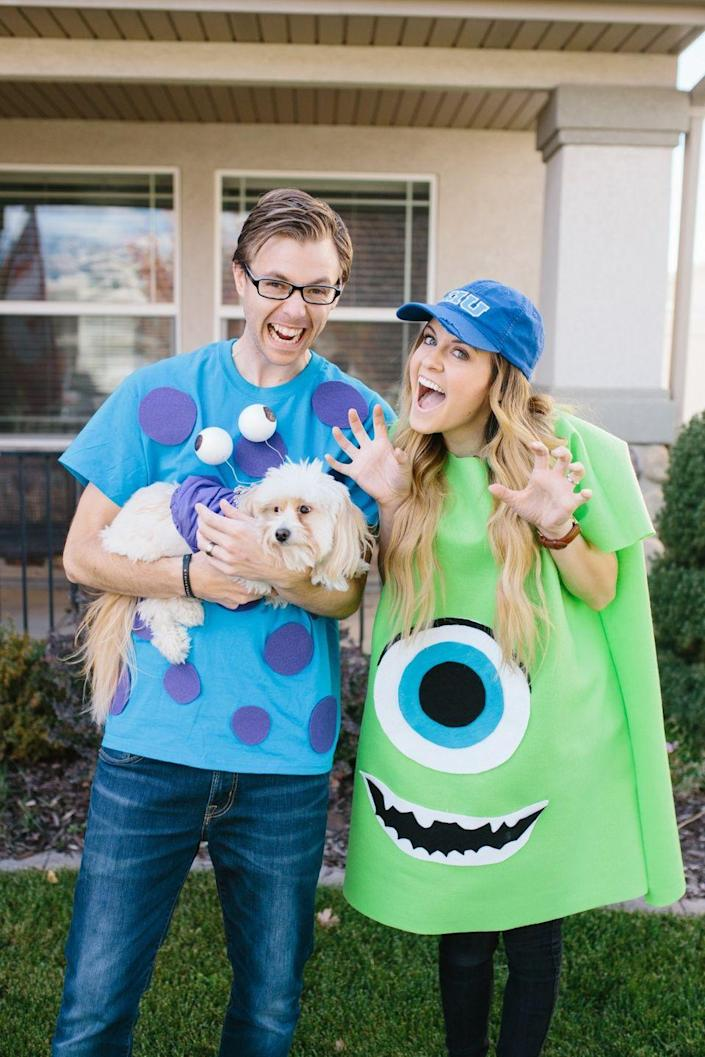 """<p>You may not scare anyone, but you'll definitely win the costume contest! Bonus points if you dress your <a href=""""https://www.countryliving.com/life/kids-pets/tips/g1913/pet-halloween-costumes/"""" rel=""""nofollow noopener"""" target=""""_blank"""" data-ylk=""""slk:pet"""" class=""""link rapid-noclick-resp"""">pet</a> up as Boo.</p><p><strong>Get the tutorial at <a href=""""https://everyday-ellis.com/cheap-diy-couples-costumes-for-you-and-your-pet/"""" rel=""""nofollow noopener"""" target=""""_blank"""" data-ylk=""""slk:Everyday Ellis"""" class=""""link rapid-noclick-resp"""">Everyday Ellis</a>.</strong></p><p><strong><a class=""""link rapid-noclick-resp"""" href=""""https://www.amazon.com/LIME-SOLID-COTTON-FABRIC-WIDTH/dp/B00KXA9HBK/?tag=syn-yahoo-20&ascsubtag=%5Bartid%7C10050.g.4616%5Bsrc%7Cyahoo-us"""" rel=""""nofollow noopener"""" target=""""_blank"""" data-ylk=""""slk:SHOP LIME GREEN FABRIC"""">SHOP LIME GREEN FABRIC</a><br></strong></p>"""