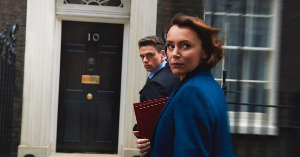 Keeley Hawes and Richard Madden in Bodyguard (BBC Pictures).