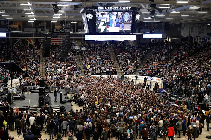 Bernie Sanders at a campaign rally and concert at the University of New Hampshire. (Mike Segar/Reuters)