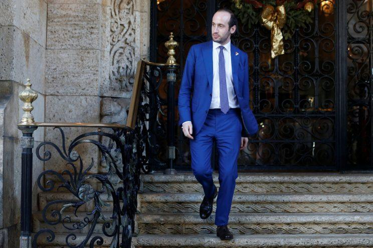 Stephen Miller departs after attending meetings with President Trump at the Mar-a-Lago Club in Palm Beach, Fla. (Photo: Jonathan Ernst/Reuters)