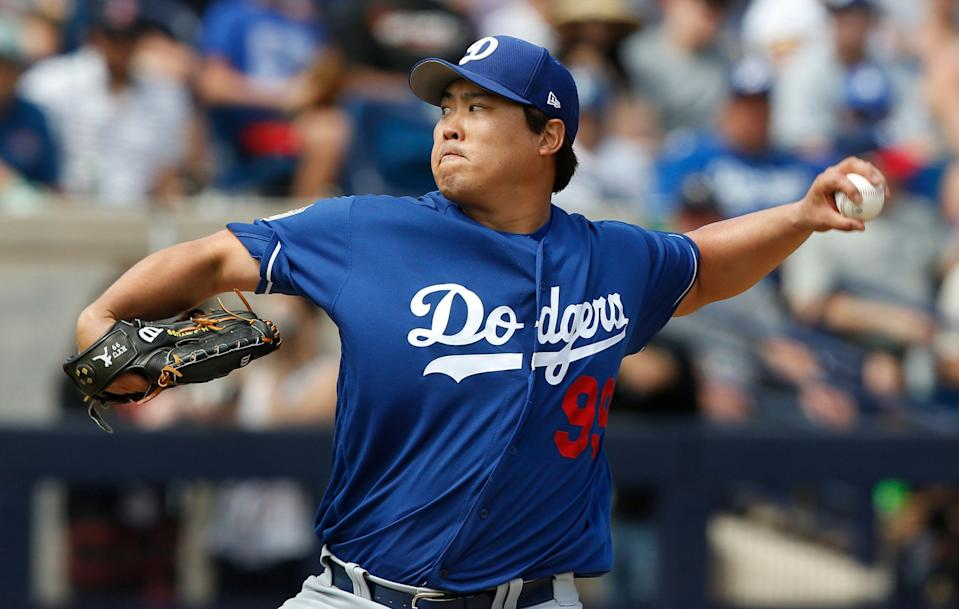 Hyun-Jin Ryu will be the first Dodgers pitcher other than Clayton Kershaw to start an opener since Vicente Padilla in 2010.  (AP Photo/Sue Ogrocki)