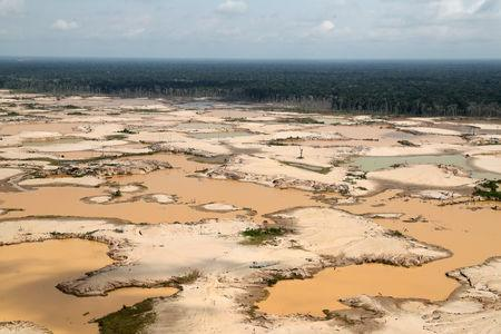 FILE PHOTO: An aerial view shows a deforested area of the Amazon jungle in southeast Peru caused by illegal mining, during a Peruvian military operation to destroy illegal machinery and equipment used by wildcat miners in Madre de Dios, Peru, March 5, 2019. REUTERS/Guadalupe Pardo/Pool