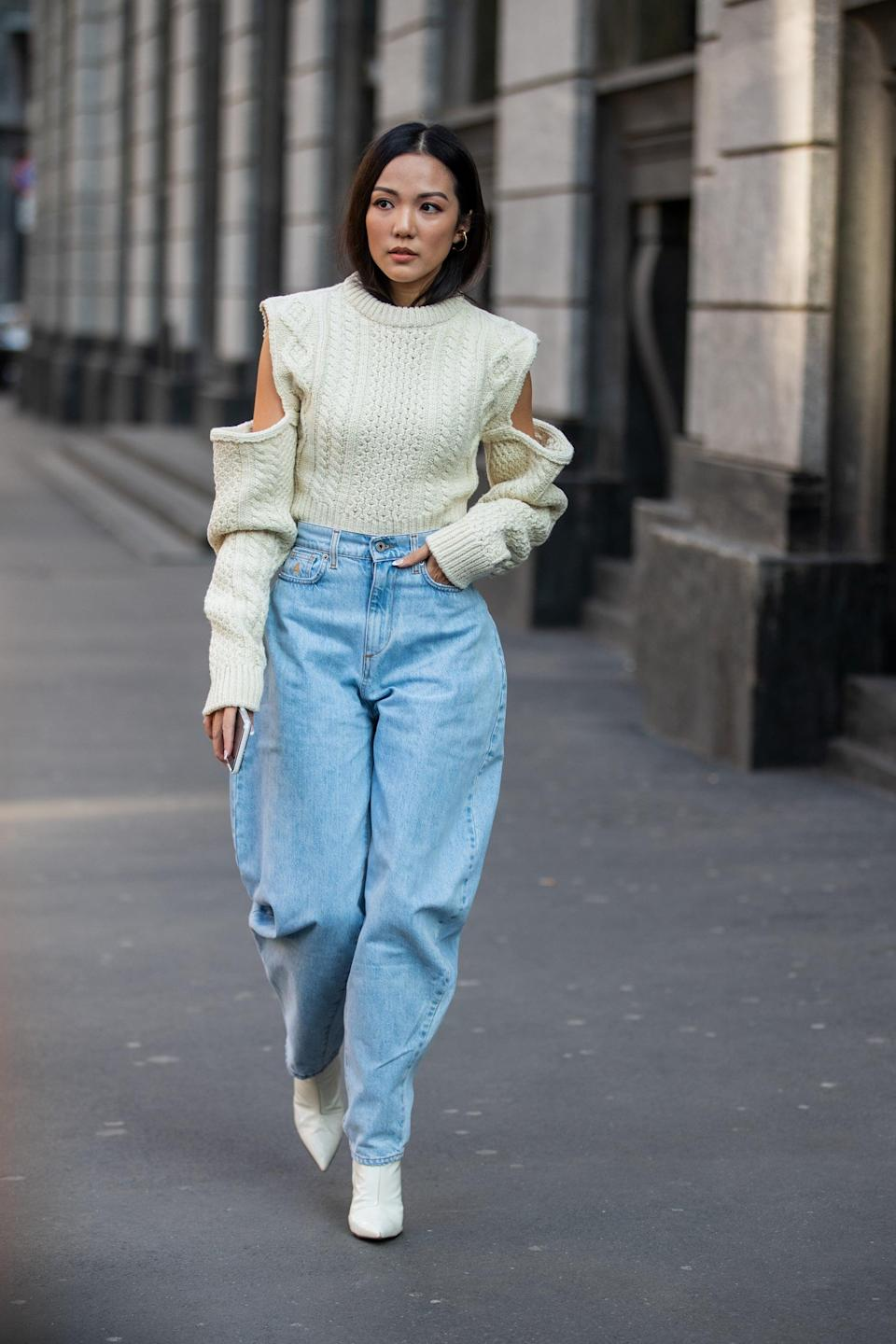 <p>A simple jeans-and-sweater combo looks infinitely cooler when a baggy jean is part of the equation. </p>