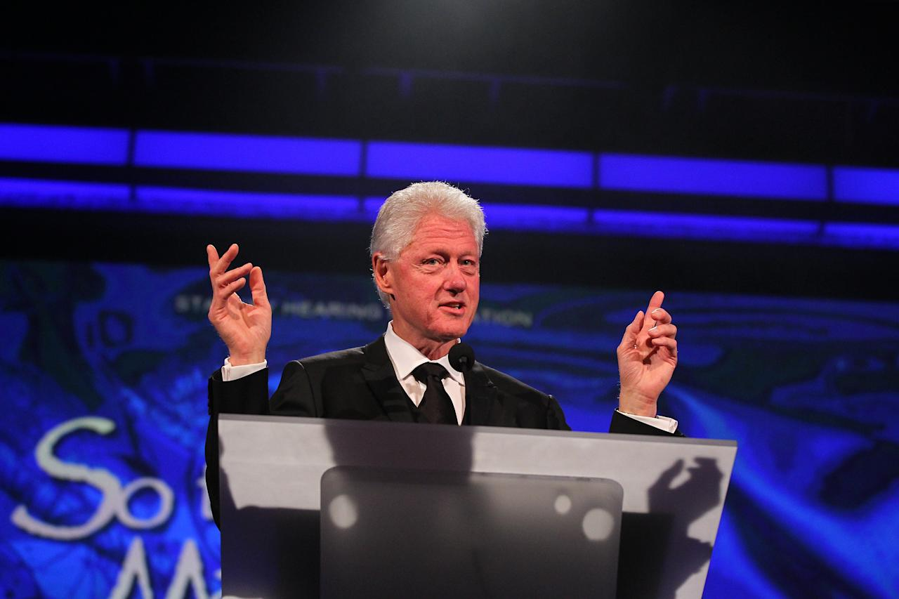 "ST. PAUL, MN - JULY 24:  Former President Bill Clinton attends the Starkey Hearing Foundation's ""So The World May Hear Awards Gala"" 2011 at River Centre on July 24, 2011 in St. Paul, Minnesota.(Photo by Adam Bettcher/Getty Images for Starkey Hearing Foundation)"