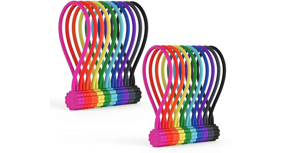 Rich&Ray Reusable Silicone Twist Ties with Strong Magnet