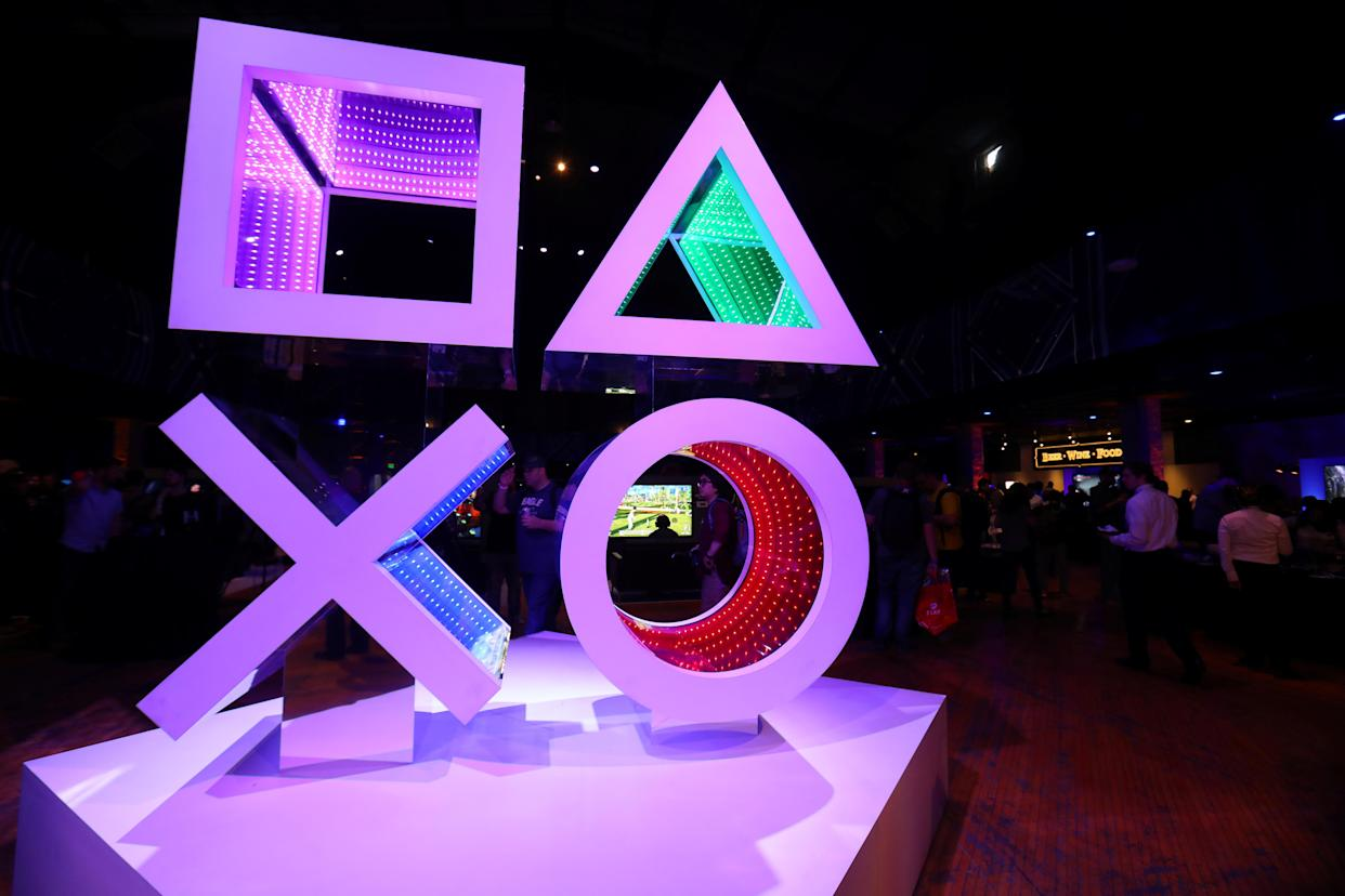The Sony Playstation preview area prior to the company's news conference to kick-off their products at E3 2017 in Los Angeles, California, U.S. June 12, 2017. REUTERS/ Mike Blake