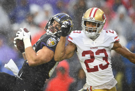 Baltimore Ravens tight end Mark Andrews (89) beats out San Francisco 49ers cornerback Ahkello Witherspoon (23) to make a touchdown catch in the first half of an NFL football game, Sunday, Dec. 1, 2019, in Baltimore, Md. (AP Photo/Nick Wass)