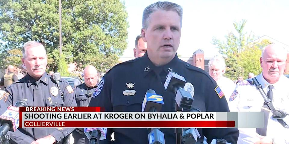 Police chief speaks at press conference.