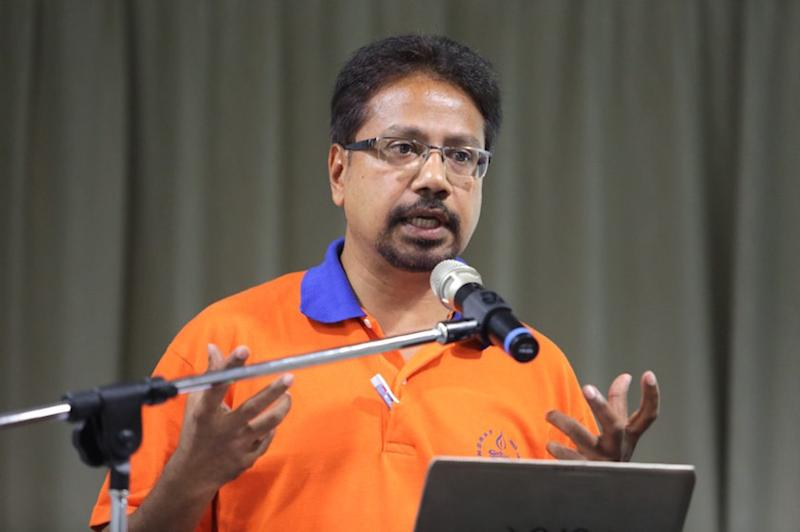 P. Waytha Moorthy speaks during the 'Symposium to Eliminate Racism and Racial Discrimination in Malaysia' at the LLG Cultural Development Centre in Kuala Lumpur March 12, 2015. — Picture by Choo Choy May