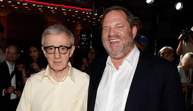 "Woody Allen and producer Harvey Weinstein on the red carpet for the L.A. premiere of ""Vicky Cristina Barcelona"" in 2008."