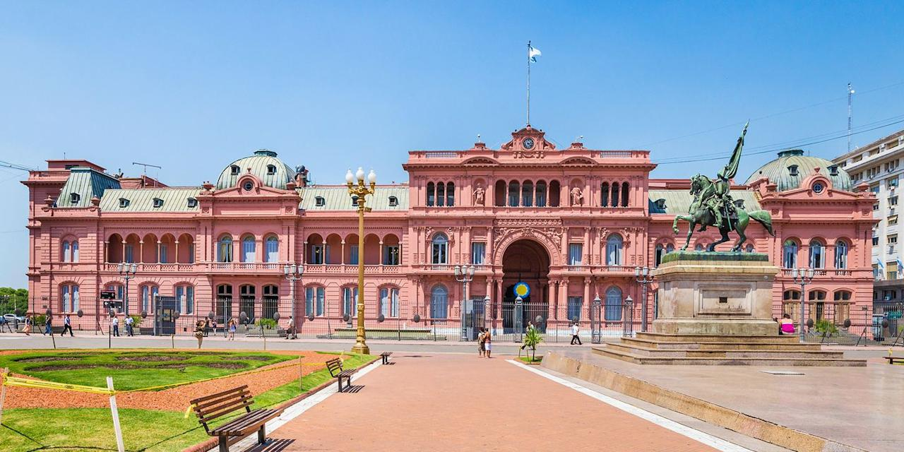 """<p>One of the most photographed spots in the Argentinian capital is <a href=""""https://www.tripadvisor.com/Attraction_Review-g312741-d311755-Reviews-Plaza_de_Mayo-Buenos_Aires_Capital_Federal_District.html"""" target=""""_blank"""">Plaza de Mayo</a>, a gorgeous public square, lined with historic buildings, including the presidential palace. The city is also known for its wide tree-lined avenues, street art, tango shows in the La Boca neighborhood, and <a href=""""https://www.tripadvisor.com/Attraction_Review-g312741-d311760-Reviews-Recoleta_Cemetery-Buenos_Aires_Capital_Federal_District.html"""" target=""""_blank"""">Recoleta Cemetery</a>, where Evita is buried. </p><p><strong>More: </strong><a href=""""https://www.bestproducts.com/fun-things-to-do/g2713/most-beautiful-places-in-the-world/"""" target=""""_blank"""">Here Are the Most Beautiful Places in the World — How Many Have You Been To?</a><br></p><p></p>"""