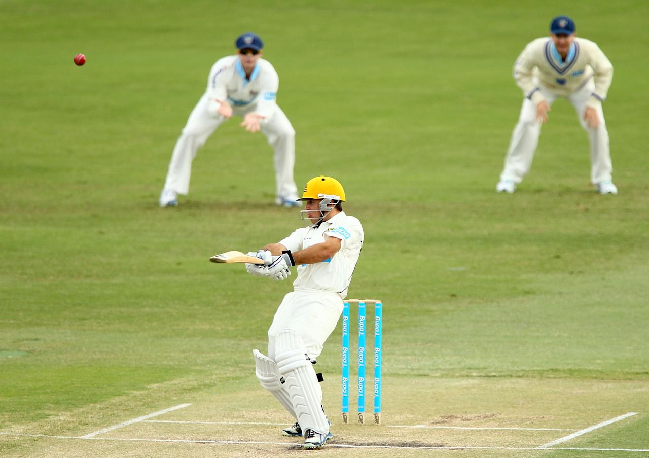 PERTH, AUSTRALIA - SEPTEMBER 20:  Liam Davis of the Warriors bats during day three of the Sheffield Shield match between the Western Australia Warriors and the New South Wales Blues at WACA on September 20, 2012 in Perth, Australia.  (Photo by Paul Kane/Getty Images)