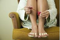 """<p>Why stop at just fingernails, right? Show mom some TLC by giving her the perfect at-home pedicure. Purchase a <a href=""""https://www.amazon.com/Best-Sellers-Beauty-Foot-Masks/zgbs/beauty/17701648011?tag=syn-yahoo-20&ascsubtag=%5Bartid%7C10070.g.35938299%5Bsrc%7Cyahoo-us"""" rel=""""nofollow noopener"""" target=""""_blank"""" data-ylk=""""slk:foot mask from Amazon's list of best sellers"""" class=""""link rapid-noclick-resp"""">foot mask from Amazon's list of best sellers</a>, refine your at-home massage skills, then let mom relax while you clean up her cuticles and trim and paint her toenails. No way she won't walk away feeling refreshed when you're finished. </p>"""