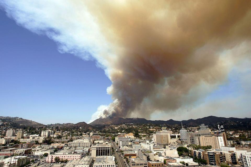 <p>Because of LA's dry heat, the city and its surrounding neighborhoods unfortunately experience a lot of brush fires, like the one pictured here in 2007. <br></p>