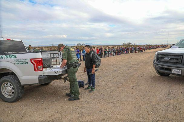 PHOTO: A record large group of migrants tunneled under the border wall near Yuma, Arizona, and turned themselves in to Border Patrol officials for asylum. (Yuma Sector Border Patrol)
