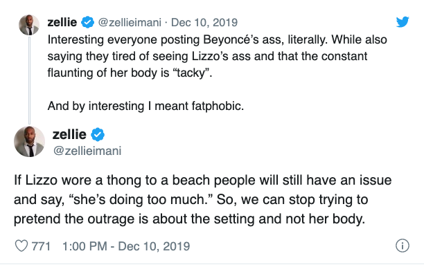 A screenshot of a tweet about Lizzo wearing a black dress that exposed her thong at a basketball game