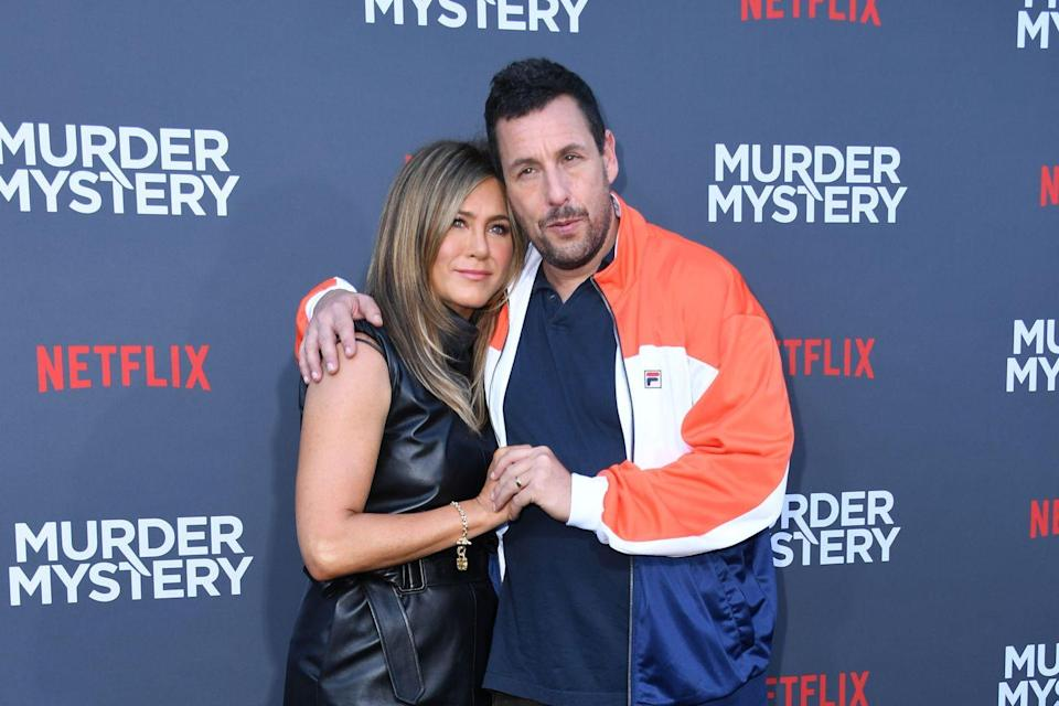 """<p>Aniston teamed up with Adam Sandler once again, this time for 2019's <a href=""""https://www.imdb.com/title/tt1618434/?ref_=nm_flmg_act_4"""" rel=""""nofollow noopener"""" target=""""_blank"""" data-ylk=""""slk:Murder Mystery"""" class=""""link rapid-noclick-resp""""><em>Murder Mystery</em></a>. In this action comedy, Aniston plays Audrey Spitz, the wife of a New York cop who gets framed for the death of an elderly billionaire while on vacation.</p>"""