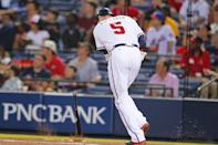 Atlanta Braves first baseman Freddie Freeman slams his bat down as he flies out in the second baseball game of the doubleheader against the New York Mets Tuesday, June 18, 2013, in Atlanta. (AP Photo/Todd Kirkland)