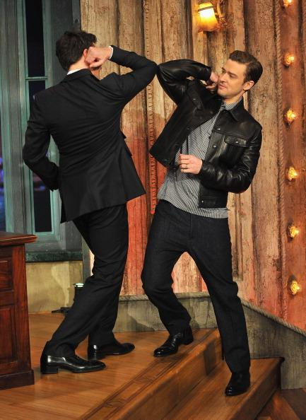 Justin Timberlake and Jimmy Fallon during a taping of 'Late Night With Jimmy Fallon' at Rockefeller Center on March 11, 2013 in New York City.
