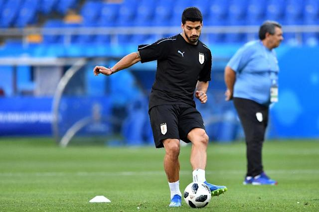 Luis Suarez is making his 100th appearance for Uruguay (AFP Photo/JOE KLAMAR)