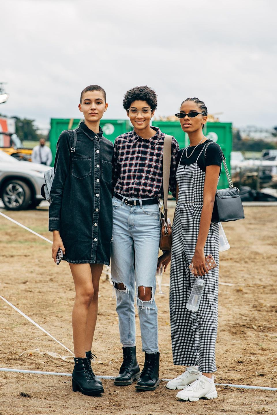 <p>Keep it simple with a button-down, jeans, or overalls, and your favorite walkable footwear.</p>