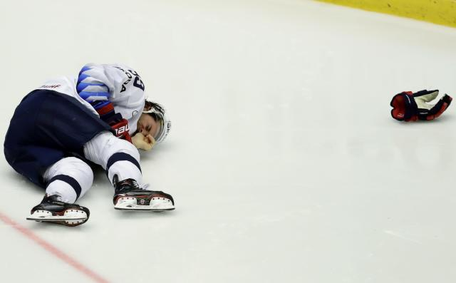 Ice Hockey - 2018 IIHF World Championships - Group B - Finland v USA - Jyske Bank Boxen - Herning, Denmark - May 15, 2018 - Brian Gibbons of the U.S. lies on the ice. REUTERS/David W Cerny