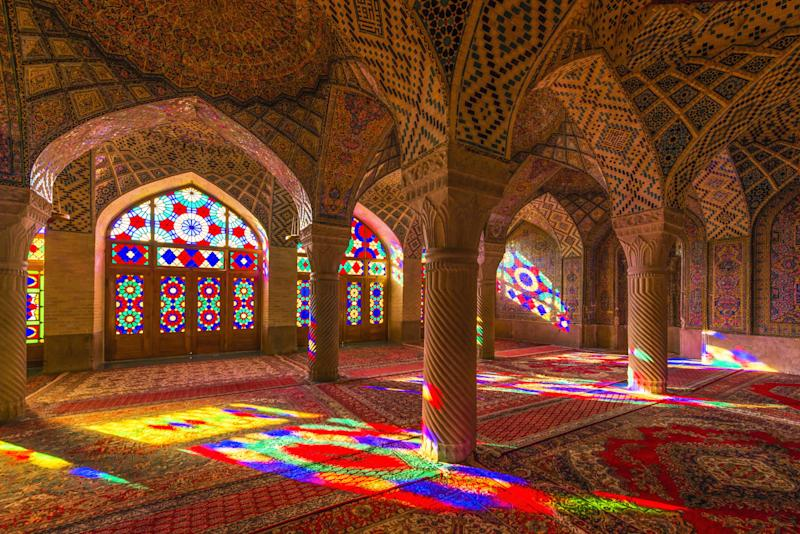 Inside of Nasir al-Mulk, a traditional mosque in Shiraz.