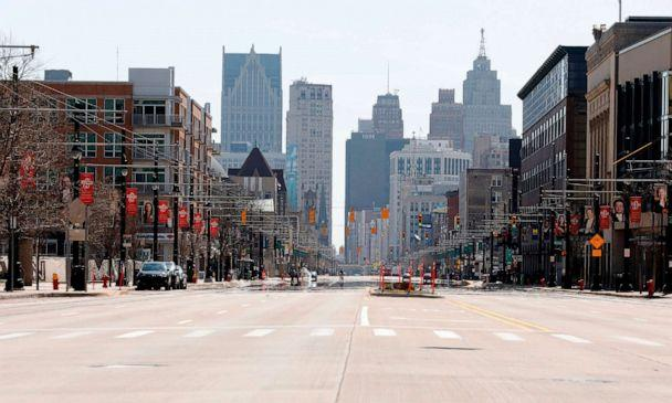 PHOTO: Woodward Avenue in downtown Detroit is desolate and quiet in the middle of the day, April 6, 2020. (Jeff Kowalsky/AFP via Getty Images)